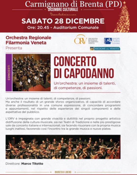 Locandina concerto di Capodanna - Comune di Carmignano di Brenta