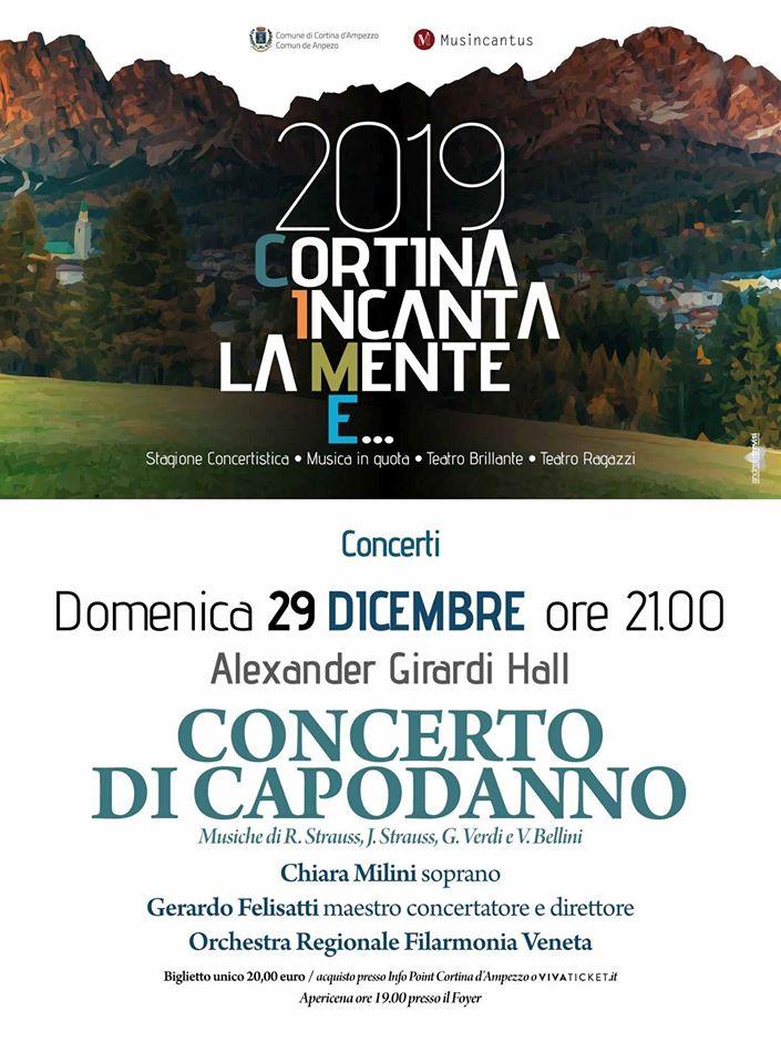 Locandina Concerto di Capodanno 2019 a Cortina