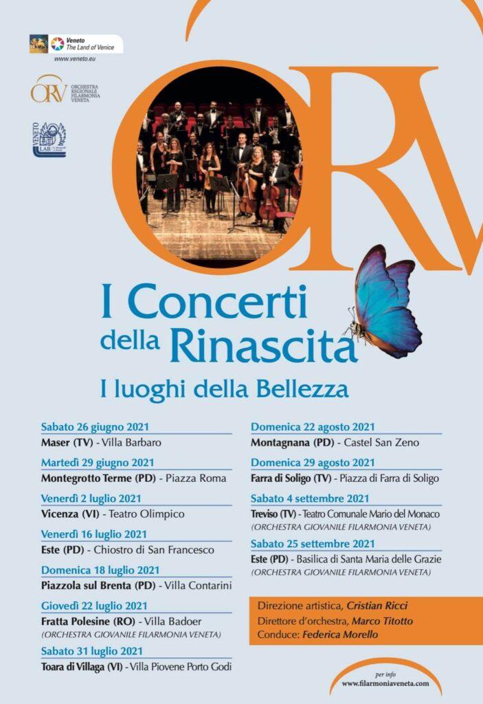 Locandina eventi 2021 - I concerti della Rinascita, i luoghi della bellezza
